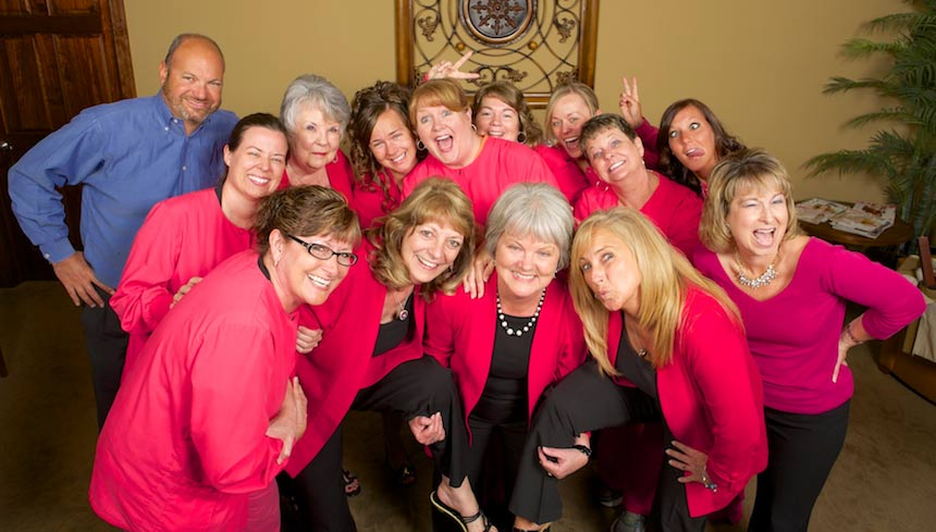 Randolph Center for Dental Excellence Team Picture with Pink Shirts